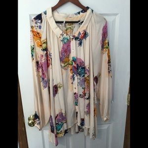 Free People Meadow Lark floral abstract tunic NWT